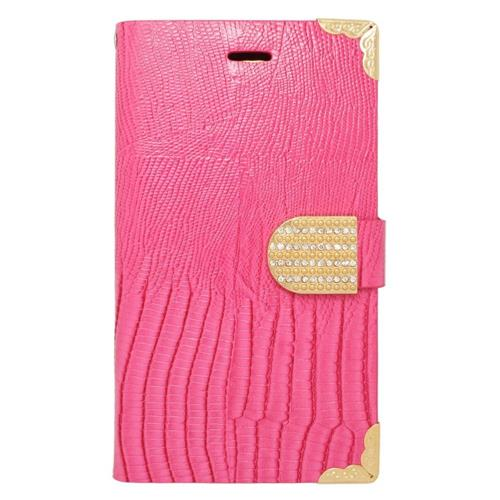 Insten Flip Leather Fabric Cover Case w/card holder/Diamond For Samsung Galaxy Note Edge, Pink/Gold