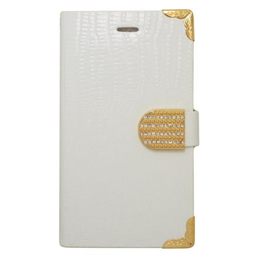 Insten Book-Style Leather Fabric Case w/card slot/Diamond For Samsung Galaxy Note Edge, White/Gold