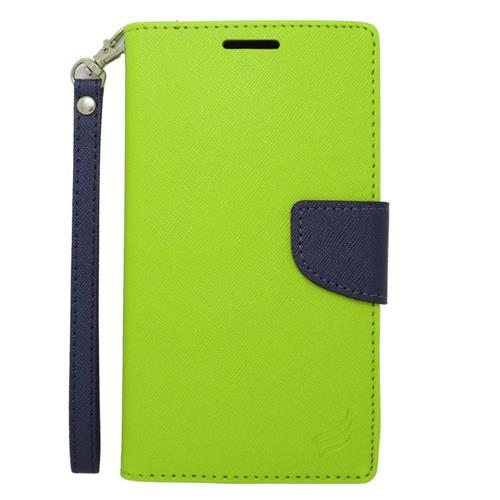 Insten Flip Leather Case w/stand/card slot/Photo Display For Samsung Galaxy Note Edge, Green/Blue