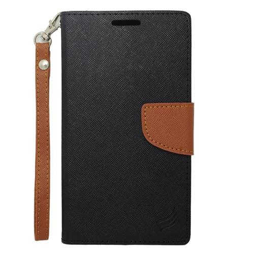Insten Folio Leather Case Lanyard w/stand/card holder For Samsung Galaxy Note Edge, Black/Brown