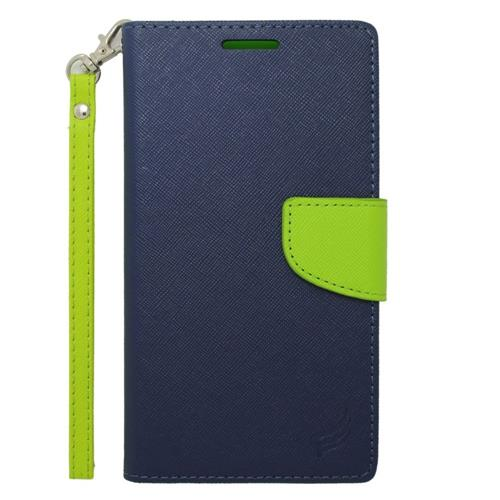 Insten Flip Leather Case w/stand/card slot For Samsung Galaxy Note Edge, Dark Blue/Green