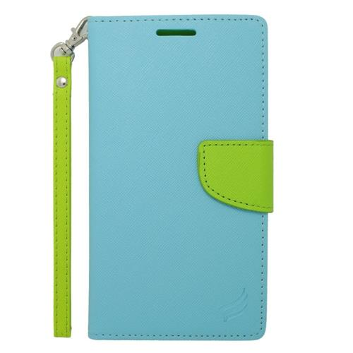 Insten Leather Fabric Case Lanyard w/stand/card slot For Samsung Galaxy Note Edge, Light Blue/Green