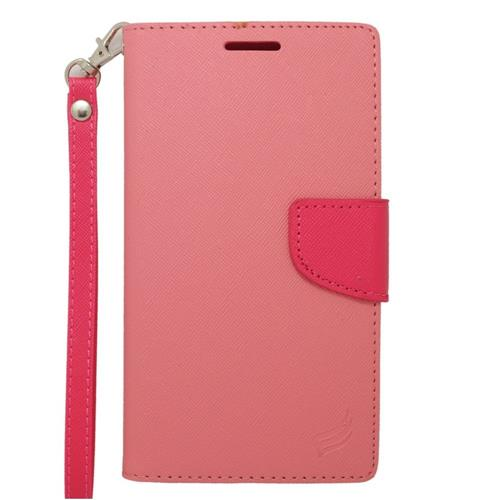 Insten Flip Leather Case w/stand/card slot/Photo Display For Samsung Galaxy Note Edge, Pink/Hot Pink