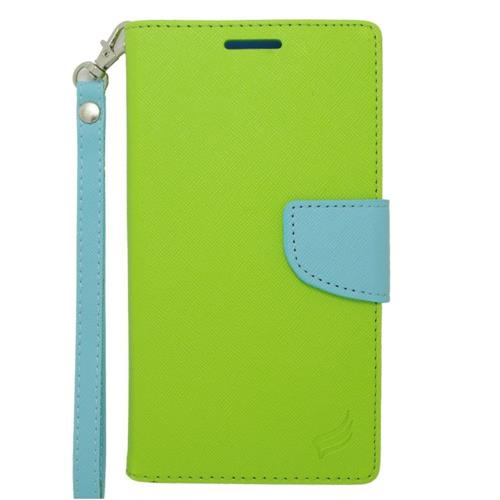 Insten Leather Case w/stand/card slot/Photo Display For Samsung Galaxy Note Edge, Green/Light Blue