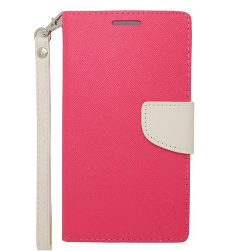 Insten Folio Leather Case Lanyard w/stand/card holder For Samsung Galaxy Note Edge, Pink/White