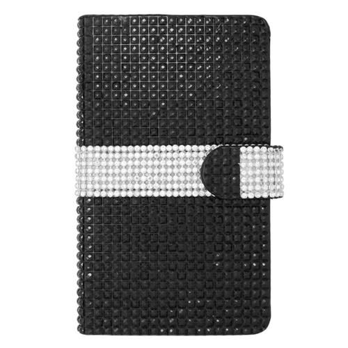 Insten Flip Leather Bling Case w/card slot For Samsung Galaxy Note Edge, Black/Silver