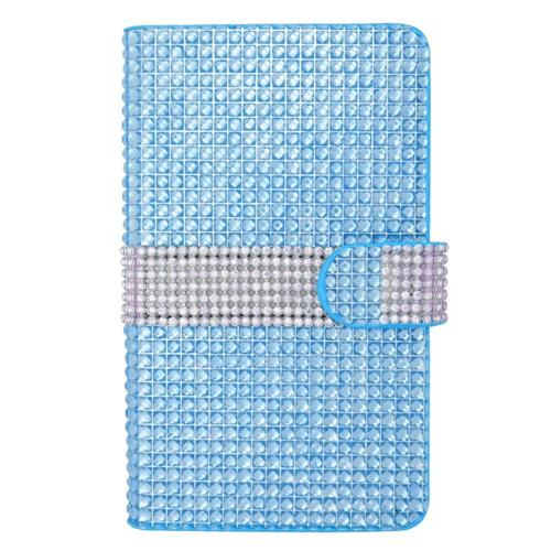 Insten Flip Leather Bling Cover Case w/card holder For Samsung Galaxy Note Edge, Light Blue/Silver