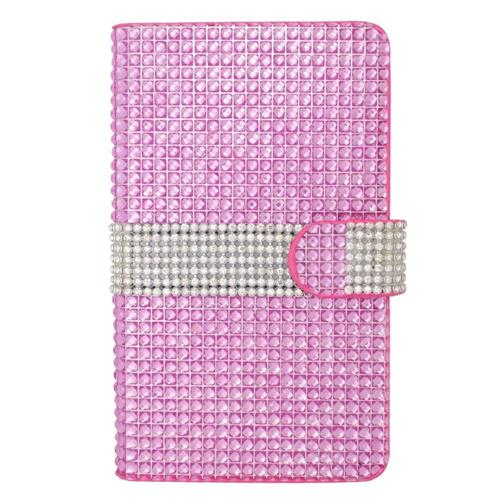 Insten Flip Leather Diamond Case w/card holder For Samsung Galaxy Note Edge, Hot Pink/Silver