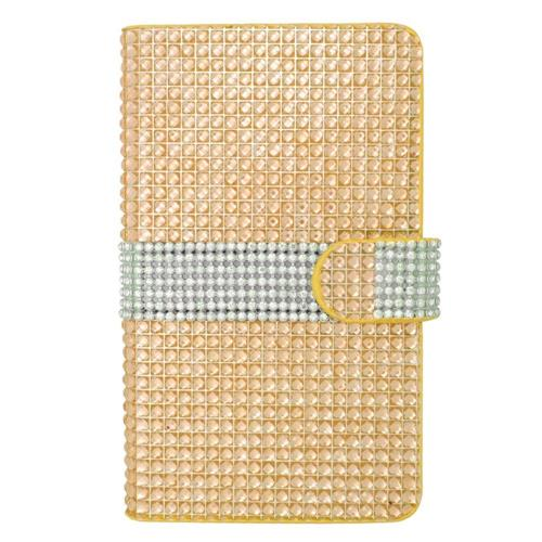 Insten Flip Leather Bling Cover Case w/card holder For Samsung Galaxy Note Edge, Gold/Silver