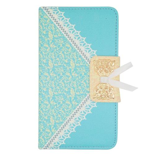 Insten Leather Fabric Case w/stand/card holder For Samsung Galaxy Note Edge, Light Blue/Gold