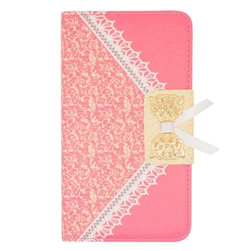 Insten Leather Fabric Case w/stand/card holder For Samsung Galaxy Note Edge, Hot Pink/Gold