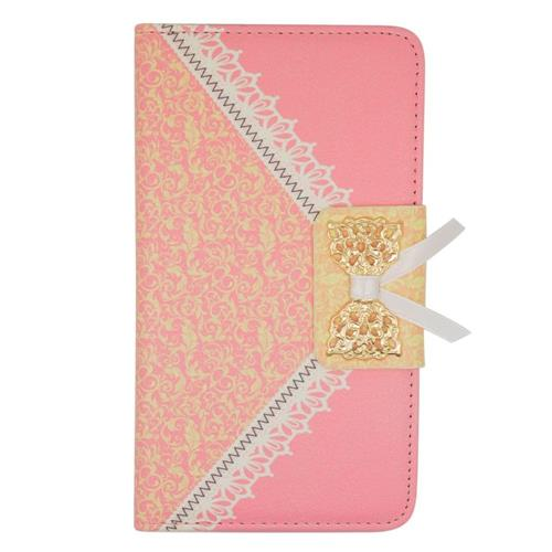 Insten Folio Leather Fabric Cover Case w/stand/card slot For Samsung Galaxy Note Edge, Pink/Gold