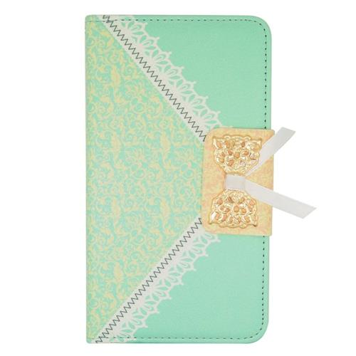 Insten Folio Leather Fabric Case w/stand/card slot For Samsung Galaxy Note Edge, Green/Gold