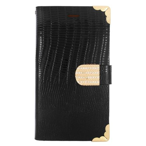 Insten Flip Leather Fabric Cover Case w/card holder/Diamond For LG G4, Black/Gold