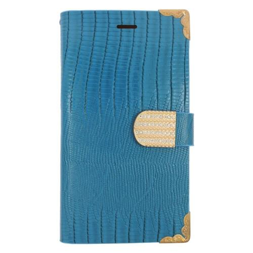 Insten Book-Style Leather Fabric Case w/card holder/Diamond For LG G4, Light Blue/Gold