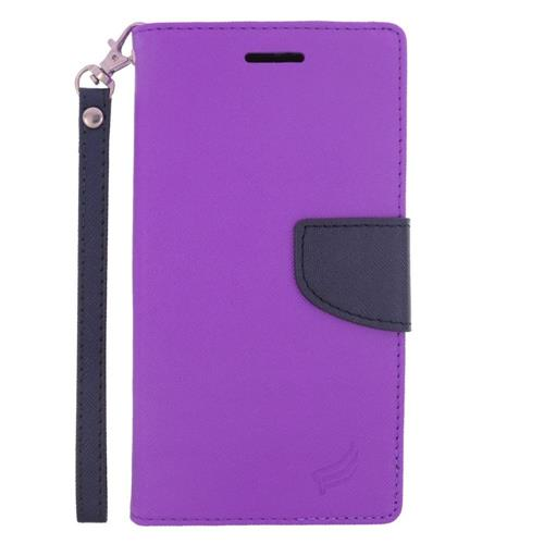 Insten Flip Leather Fabric Case Lanyard w/stand/card slot/Photo Display For LG G4, Purple/Blue