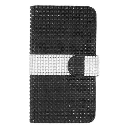 Insten Folio Leather Rhinestone Case w/card holder For LG Volt 2, Black/Silver