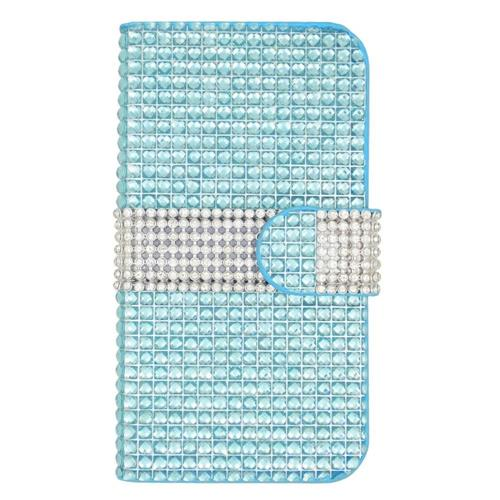 Insten Folio Leather Diamante Case w/card slot For LG Volt 2, Light Blue/Silver