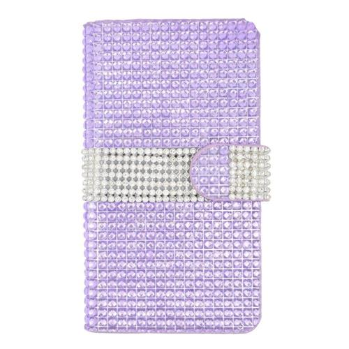 Insten Book-Style Leather Diamond Case w/card holder For LG Volt 2, Purple/Silver