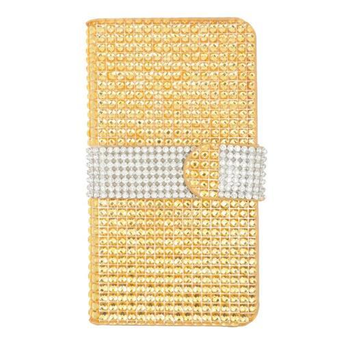 Insten Folio Leather Rhinestone Case w/card slot For LG Volt 2, Gold/Silver