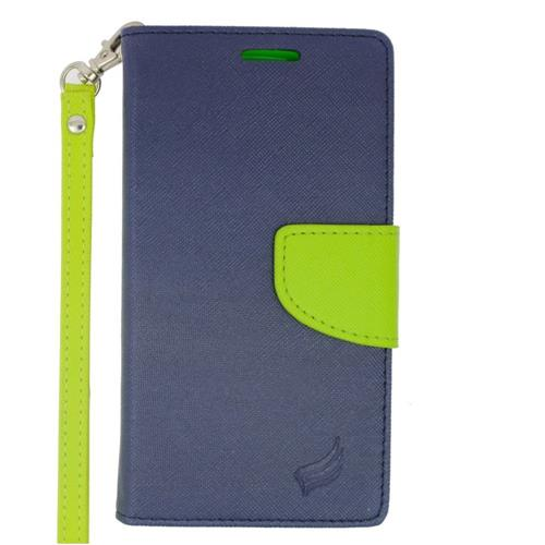 Insten Flip Leather Case Lanyard w/stand/card holder/Photo Display For LG Volt 2, Dark Blue/Green
