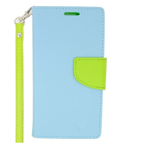 Insten Flip Leather Case Lanyard w/stand/card holder/Photo Display For LG Volt 2, Light Blue/Green
