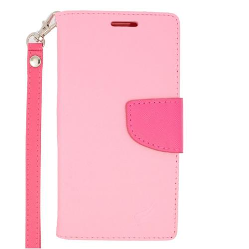 Insten Folio Leather Case Lanyard w/stand/card slot/Photo Display For LG Volt 2, Pink/Hot Pink