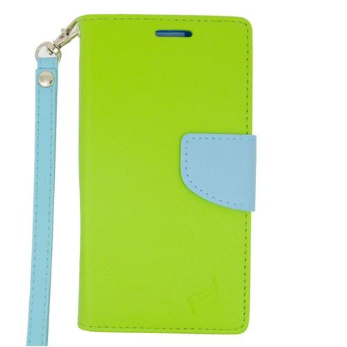 Insten Leather Fabric Case Lanyard w/stand/card slot/Photo Display For LG Volt 2, Green/Light Blue