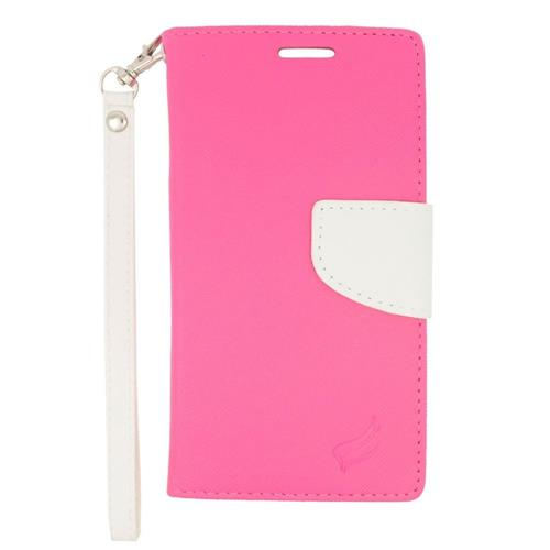 Insten Flip Leather Fabric Case Lanyard w/stand/card holder/Photo Display For LG Volt 2, Pink/White