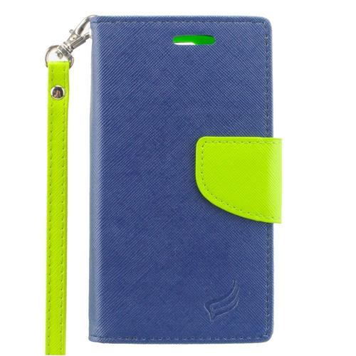 Insten Leather Fabric Case Lanyard w/stand/card slot/Photo Display For LG Escape 2, Dark Blue/Green
