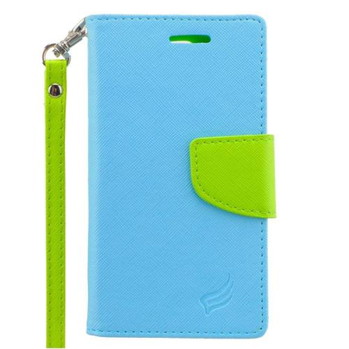 Insten Leather Case Lanyard w/stand/card holder/Photo Display For LG Escape 2, Light Blue/Green