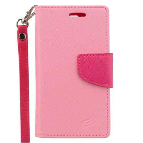 Insten Leather Fabric Case Lanyard w/stand/card slot/Photo Display For LG Escape 2, Pink/Hot Pink