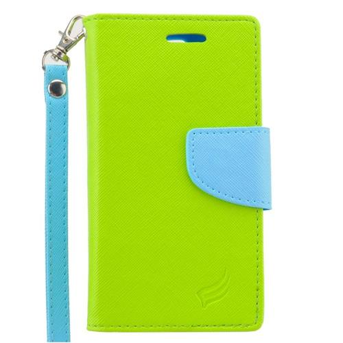 Insten Folio Leather Case Lanyard w/stand/card slot/Photo Display For LG Escape 2, Green/Light Blue