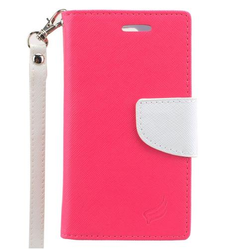 Insten Leather Fabric Case Lanyard w/stand/card slot/Photo Display For LG Escape 2, Pink/White