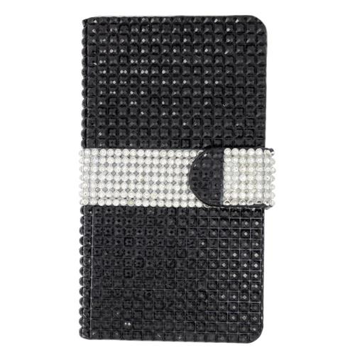 Insten Book-Style Leather Bling Case w/card slot For LG Escape 2, Black/Silver