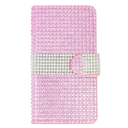 Insten Book-Style Leather Rhinestone Case w/card slot For LG Escape 2, Hot Pink/Silver