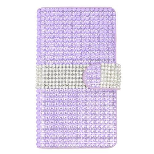 Insten Folio Leather Diamond Case w/card holder For LG Escape 2, Purple/Silver