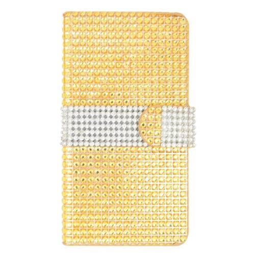 Insten Flip Leather Bling Cover Case w/card holder For LG Escape 2, Gold/Silver