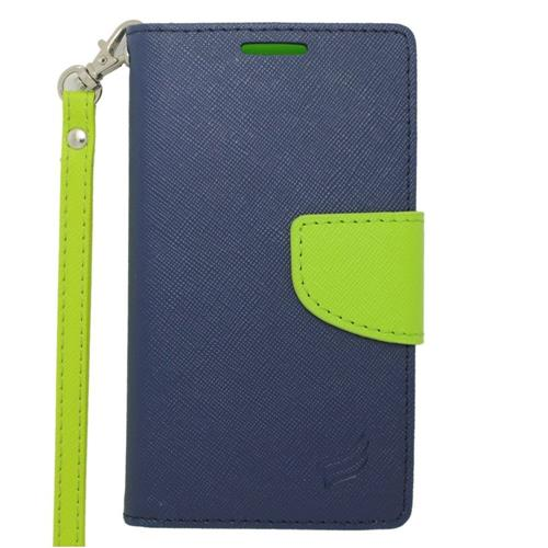 Insten Leather Fabric Case Lanyard w/stand/card slot/Photo Display For LG Tribute, Dark Blue/Green