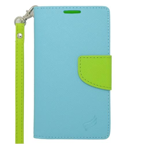 Insten Folio Leather Case Lanyard w/stand/card slot/Photo Display For LG Tribute, Light Blue/Green