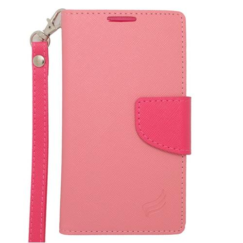 Insten Folio Leather Case Lanyard w/stand/card holder/Photo Display For LG Tribute, Pink/Hot Pink