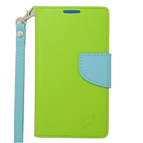 Insten Leather Case Lanyard w/stand/card holder/Photo Display For LG Tribute, Green/Light Blue