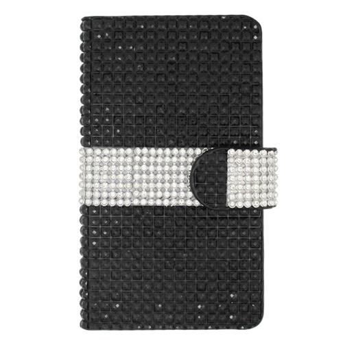 Insten Folio Leather Bling Cover Case w/card slot For LG Tribute, Black/Silver