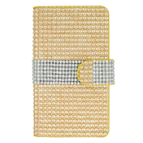 Insten Folio Leather Rhinestone Cover Case w/card holder For LG Tribute, Gold/Silver
