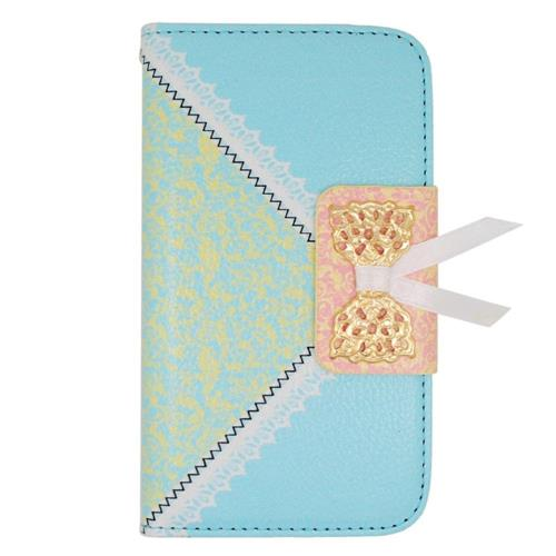 Insten Book-Style Leather Fabric Case w/stand/card holder For LG Tribute, Light Blue/Gold