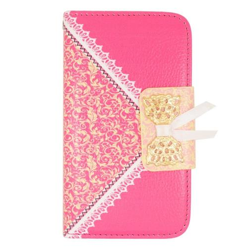 Insten Folio Leather Fabric Cover Case w/stand/card holder For LG Tribute, Hot Pink/Gold