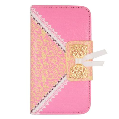 Insten Book-Style Leather Fabric Case w/stand/card holder For LG Tribute, Pink/Gold