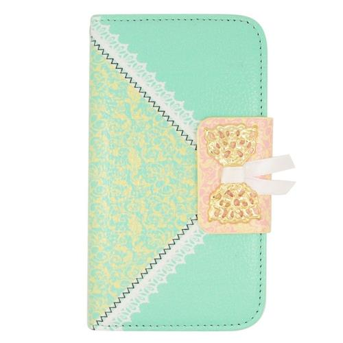 Insten Book-Style Leather Fabric Case w/stand/card holder For LG Tribute, Green/Gold