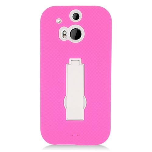 Insten Hybrid Stand Rubber Silicone/PC Case For HTC One M8, Pink/White