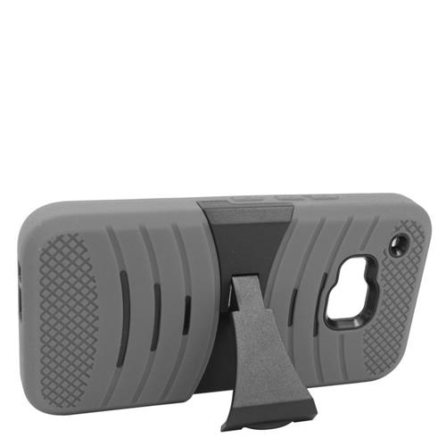 Insten Wave Hybrid Stand Rubber Silicone/PC Case For HTC One M9, Grey/Black